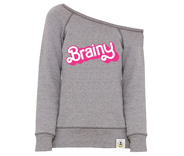 Brainy Women's Wide Neck Sweatshirt (Grey)