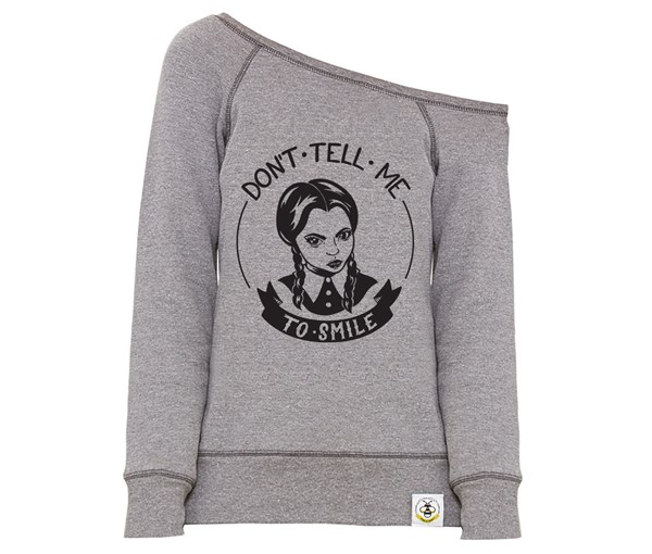 Don't Tell Me Women's Wide Neck Sweatshirt (Grey)