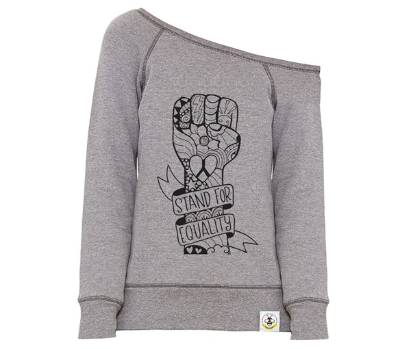 Equality Fist Women's Wide Neck Sweatshirt (Grey)