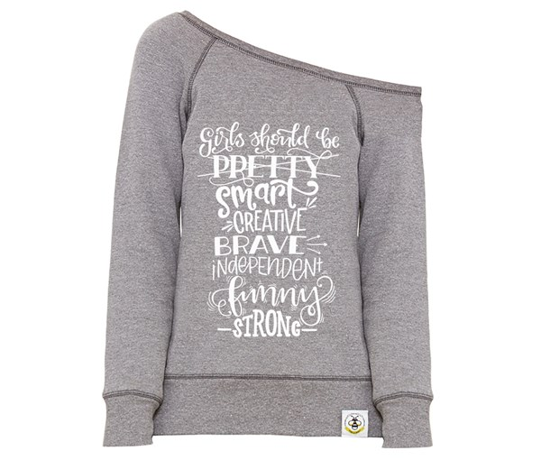 Girls Should Women's Wide Neck Sweatshirt (Grey)
