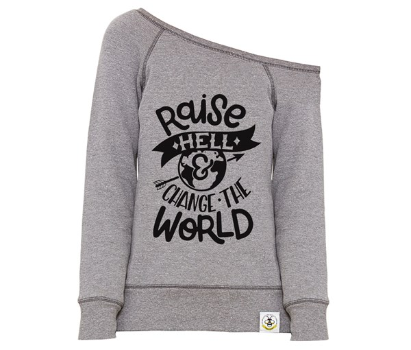 Raise Hell Women's Wide Neck Sweatshirt (Grey)