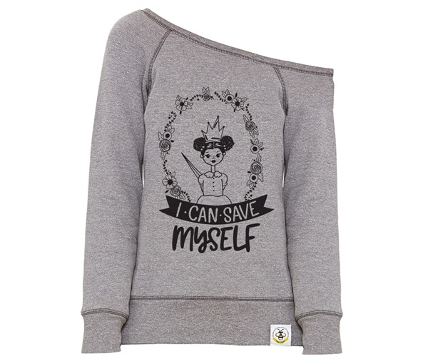 Save Myself - Puffs Women's Wide Neck Sweatshirt (Grey)