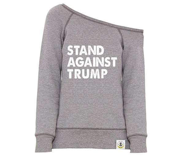 Stand Against Trump Women's Wide Neck Sweatshirt (Grey)