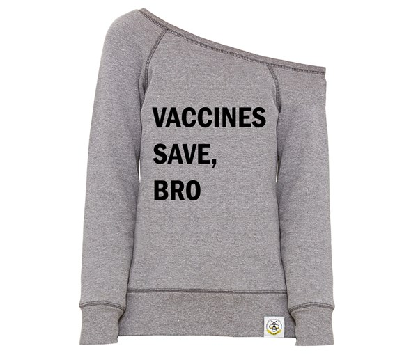 Vaccines Save, Bro Women's Wide Neck Sweatshirt (Grey/Black)