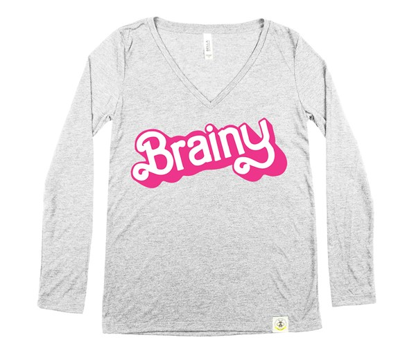 Brainy Women's Long Sleeve V-Neck (Grey)