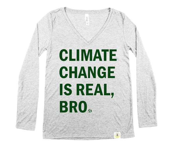 Climate Change Women's Long Sleeve V-Neck (Grey/Green)