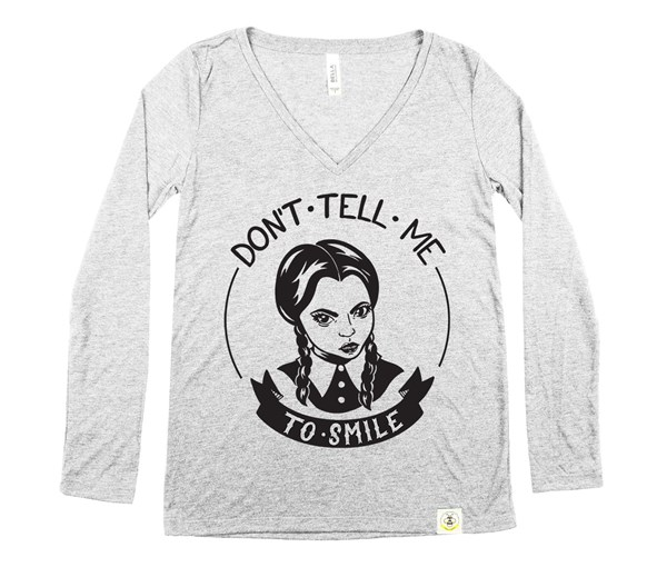 Don't Tell Me Women's Long Sleeve V-Neck (Grey)