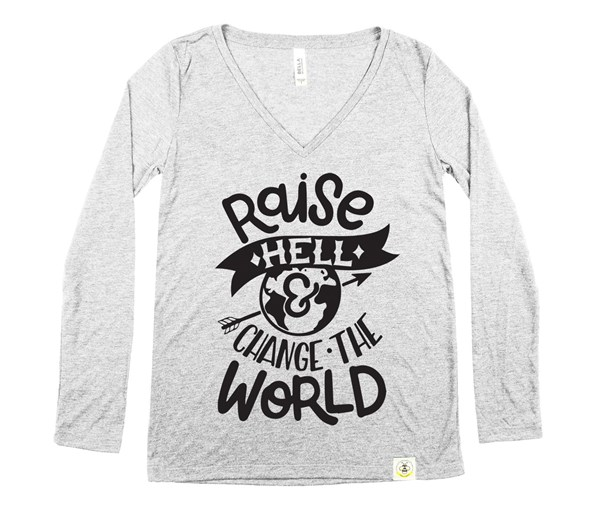 Raise Hell Women's Long Sleeve V-Neck (Grey)