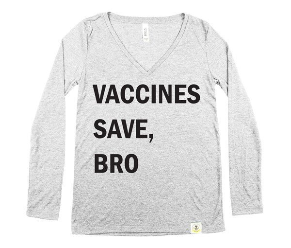 Vaccines Save, Bro Women's Long Sleeve V-Neck (Grey/Black)