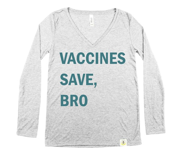 Vaccines Save, Bro Women's Long Sleeve V-Neck (Grey/Teal)