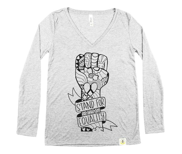 Equality Fist Women's Long Sleeve V-Neck (Grey)