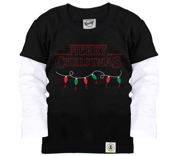 Stranger Christmas Layered Tee (Black)